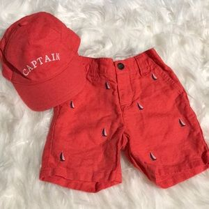 Janie and Jack Shorts w/matching Hat 6-12M